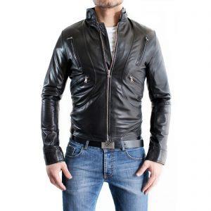 Genuine Leather Jacket Biker Coat Men's Slim Hand Made in Italy Cod.117 Rindway
