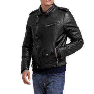 Genuine Leather Jacket Biker Coat Men's Slim Hand Made in Italy Cod.052 Rindway