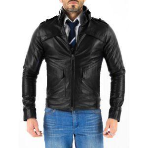 Genuine Leather Jacket Biker Coat Men's Slim Hand Made in Italy Cod.213 Rindway