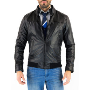 Genuine Leather Jacket Biker Coat Men's Slim Hand Made in Italy Cod.214 Rindway