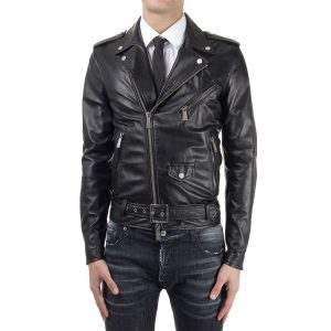 Genuine Leather Jacket Biker Coat Men's Slim Hand Made in Italy Cod.006 Rindway