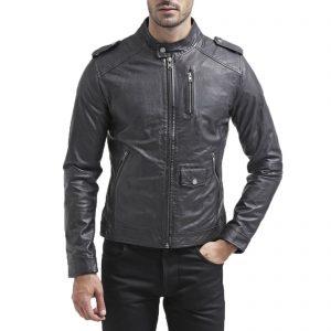 Genuine Leather Jacket Biker Coat Men's Slim Hand Made in Italy Cod.053 Rindway
