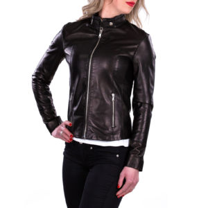Genuine Leather Jacket Biker Coat Women Slim Hand Made in Italy Cod.002 Rindway