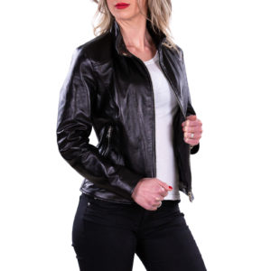 Genuine Leather Jacket Biker Coat Women Slim Hand Made in Italy Cod.004 Rindway