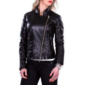 Genuine Leather Jacket Biker Coat Women Slim Hand Made in Italy Cod.005 Rindway