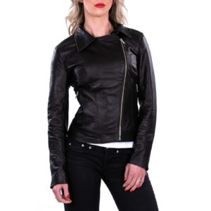 Genuine Leather Jacket Biker Coat Women Slim Hand Made in Italy Cod.003 Rindway
