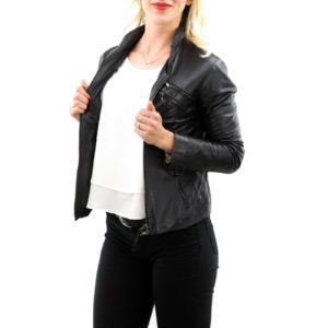 Genuine Leather Jacket Biker Coat Women Slim Hand Made in Italy Cod.006 Rindway